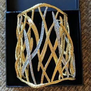 Alexis Bittar Gold & Crystal Cuff Bracelet